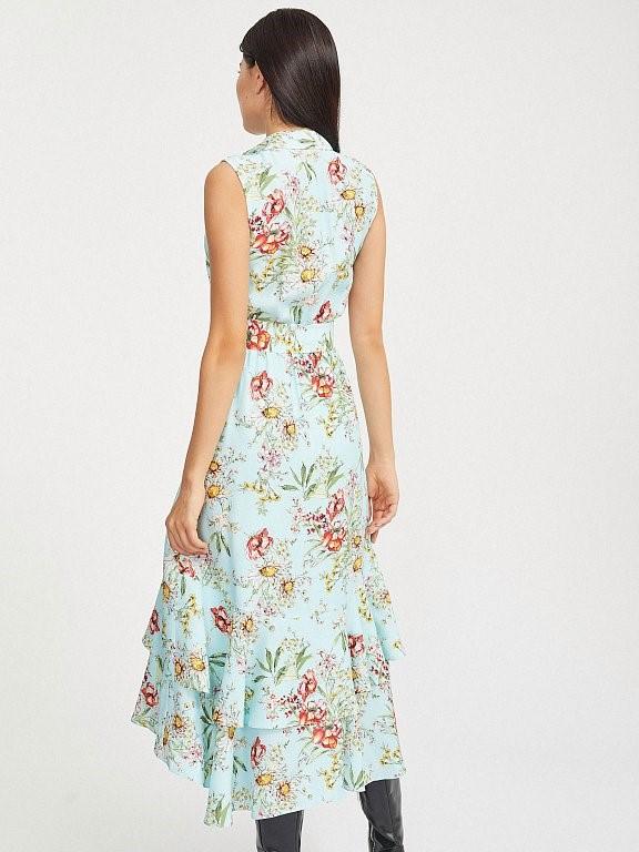 Платье Calista с цветочным принтом, воланами и асимметричным кроем