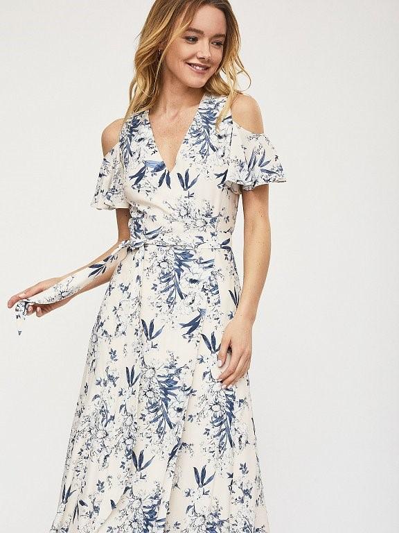 Платье макси Calista на запах с воланами и открытыми плечами
